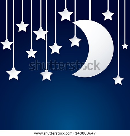 moon and star paper vector on dark blue background