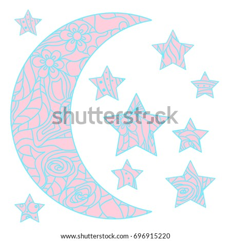 Moon and star with abstract patterns on isolation background. Zen art. Design for spiritual relaxation for adults. Line art creation. Print for polygraphy, t-shirts and textiles. Zentangle