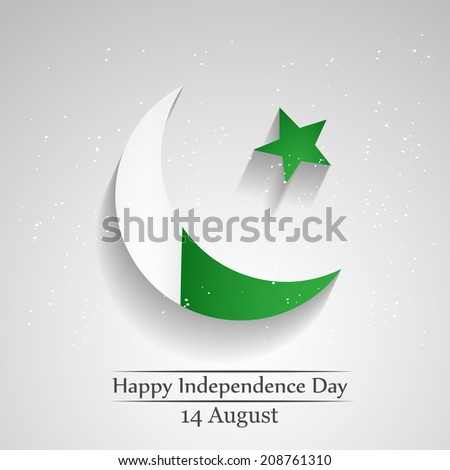Moon and Star with Pakistan's Flag for Independence Day - stock vector