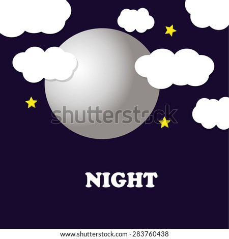 Moon and stars background - stock vector