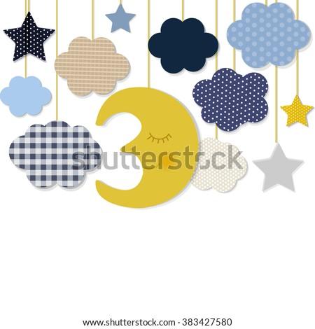 Moon And Stars Border, Vector Illustration - stock vector