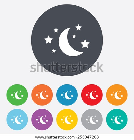 Moon and stars icon. Sleep dreams symbol. Night or bed time sign. Round colourful 11 buttons. Vector - stock vector