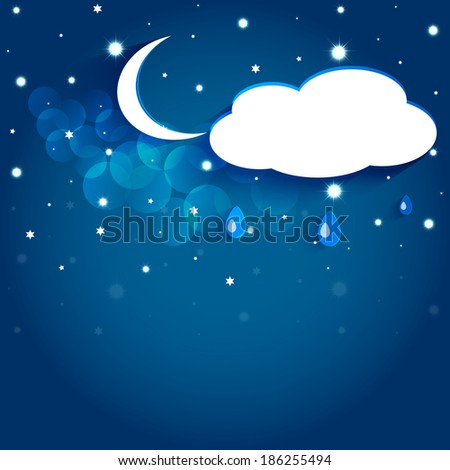Moon and stars in the night sky. Vector EPS10. - stock vector