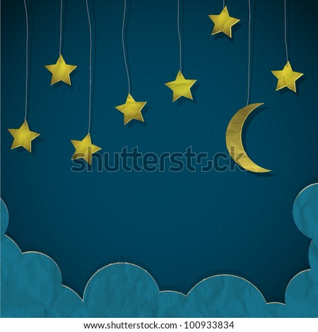 Moon and stars made from paper.  Creative vector eps10