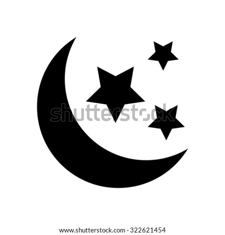 Moon and stars night icon