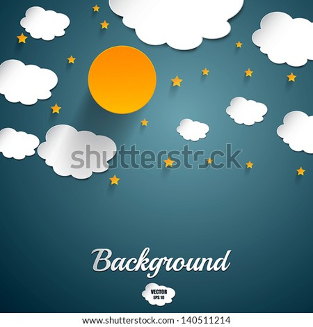 Moon and stars- Paper art. Vector - stock vector