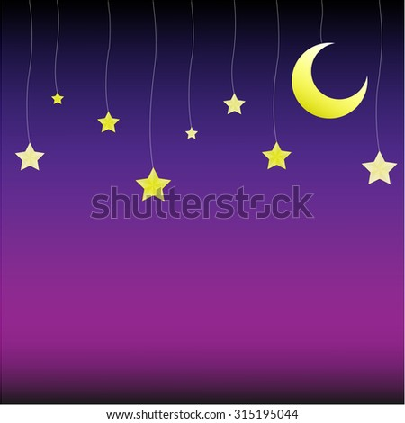 moon and stars vector background