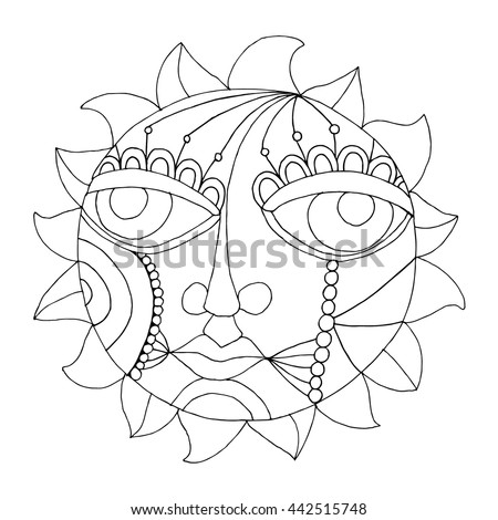 Moon and Sun illustration  - stock vector