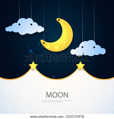 Moon, clouds and stars. Sweet dreams wallpaper.  - stock vector