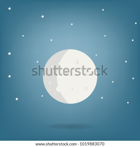 Moon Illustration Cartoon Drawing Vector Stock