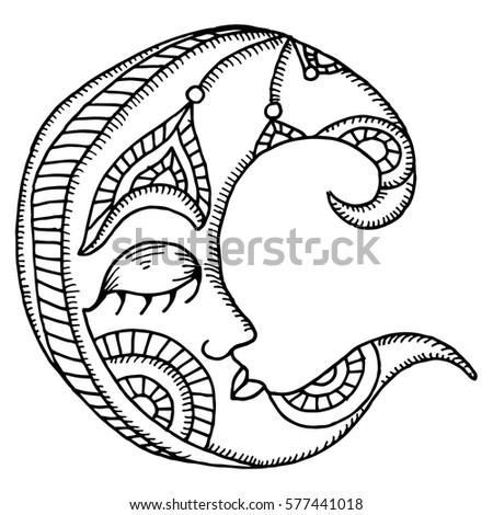 Moon Illustration Oriental Design Stock Vector 577441240