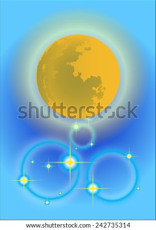 Moon in the background blues.  - stock vector