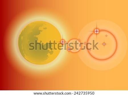 Moon in the background orange. - stock vector