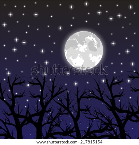 moon in the sky with the stars in the woods - stock vector
