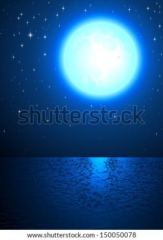 Moon Light Sea Surface Sky Star Fairy tale Vector - stock vector