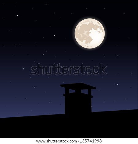 Moon on night sky - stock vector