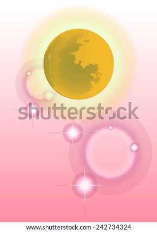 Moon on pink background vector. - stock vector