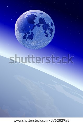 Moon on the Earth's orbit. Vector illustration. All objects are located on separate layers