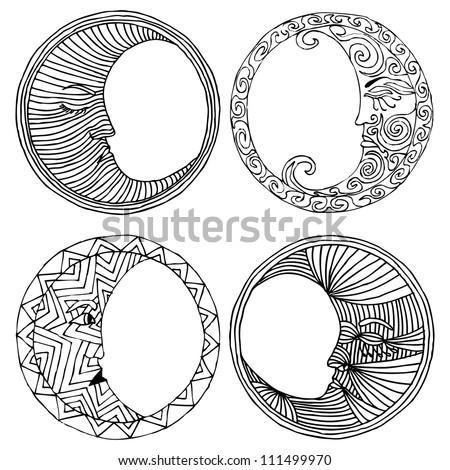 moon- original vectorized drawing of moons - stock vector