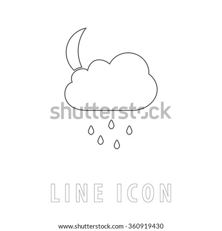 Moon Outline simple vector icon on white background. Line pictogram with text  - stock vector