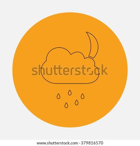 Moon Outline vector icon on orange circle. Flat line symbol pictogram  - stock vector