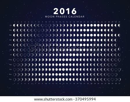 moon phases calendar vector - stock vector