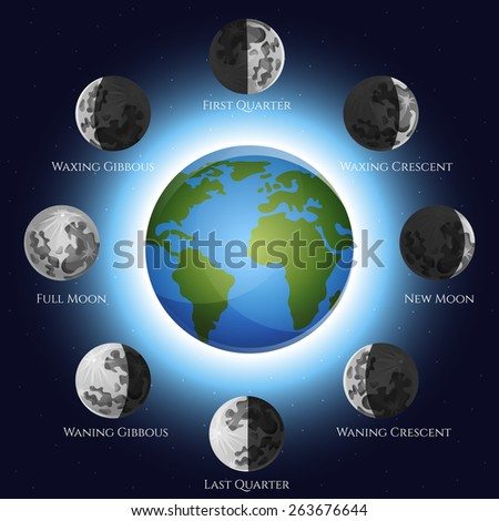 Moon phases lunar cycle shadow and earth globe vector illustration - stock vector