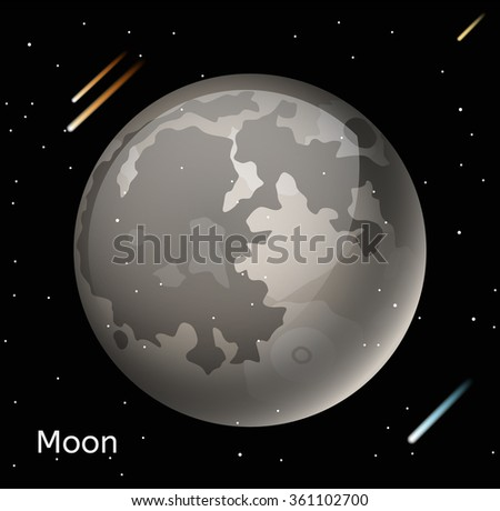 Moon planet 3d vector illustration. Globe Moon texture map. Globe vector Moon view from space. Moon illustration. Vector Moon planet. Moon planet silhouette, world map, 3d Moon - stock vector