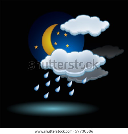 moon rain cloud icon vector