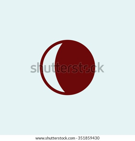 Moon. Red vector icon. Simple modern illustration pictogram. Collection concept symbol for infographic project and logo - stock vector