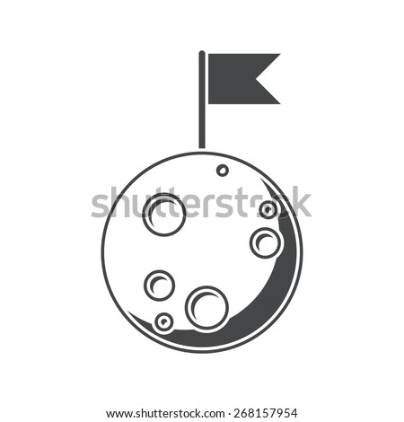 Moon, silhouette, vector illustration, isolated on white background