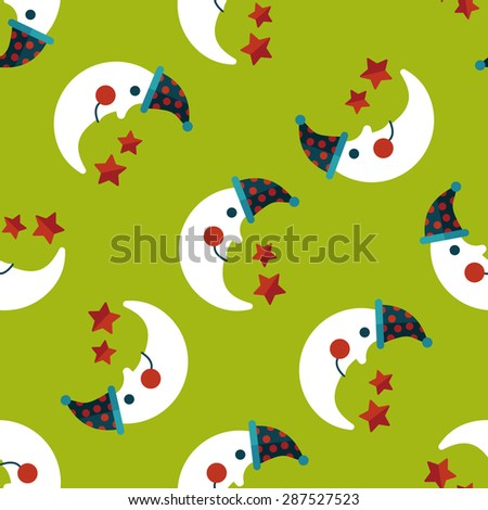 moon&star flat icon,eps10 seamless pattern background