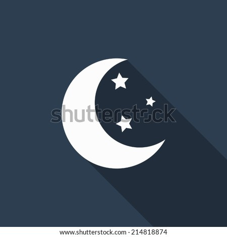 moon star icon with long shadow - stock vector
