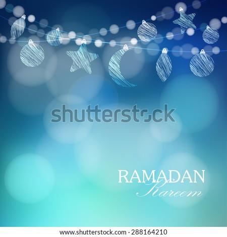 Moon, stars, bokeh lights, vector illustration background, card, invitation for muslim community holy month Ramadan Kareem - stock vector