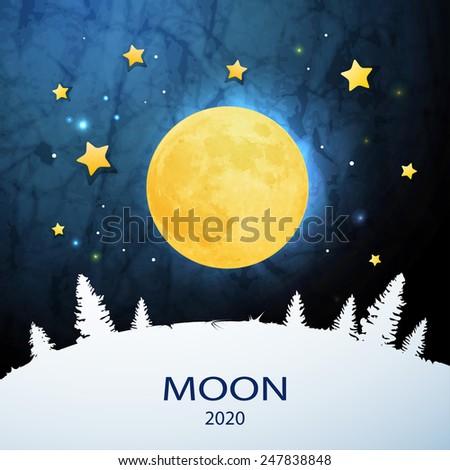 Moon.  Sweet dreams wallpaper. - stock vector