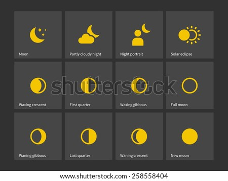 Moon through one month icons. Vector illustration. - stock vector