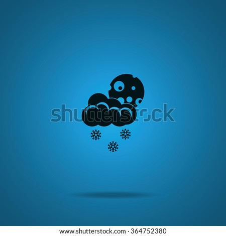 Moon with cloud and snow. - stock vector