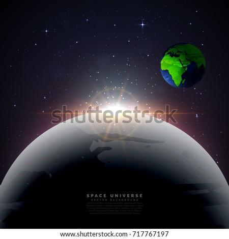 moon with earth universe vector background