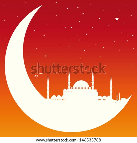 moon with mosque - stock vector