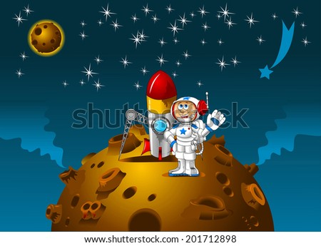 Moonscape with cartoon astronaut, vector and illustration - stock vector