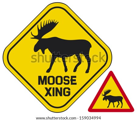 moose crossing road sign  - stock vector