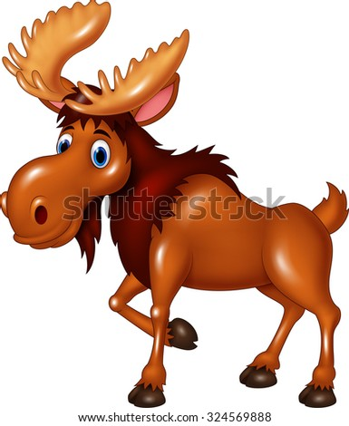 Moose cute expression.isolated on white background  - stock vector