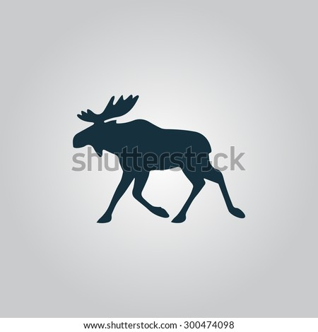 Moose. Flat web icon or sign isolated on grey background. Collection modern trend concept design style vector illustration symbol - stock vector
