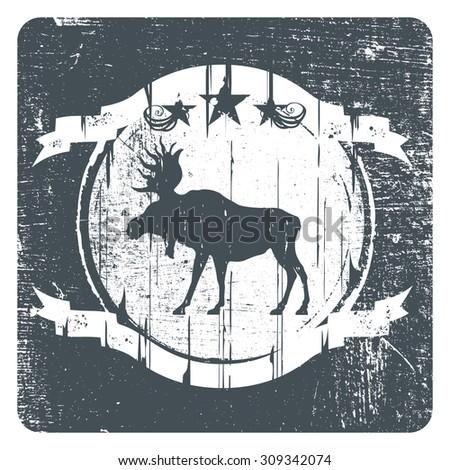 moose grunge shield - stock vector
