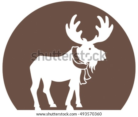 Moose Icon Vector. Silhouette on White Background.