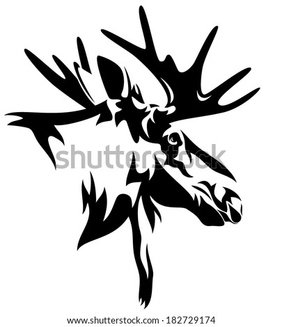 Moose head drawing outline - photo#16