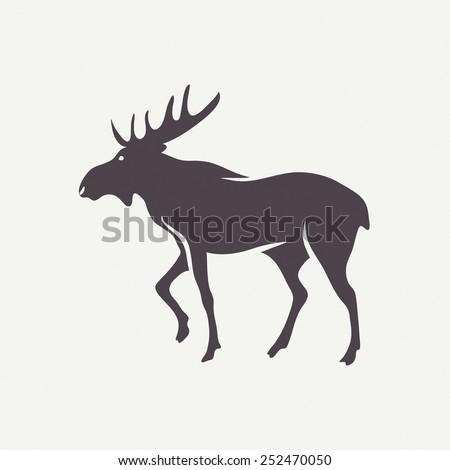 Moose symbol. Vector animal silhouette - stock vector