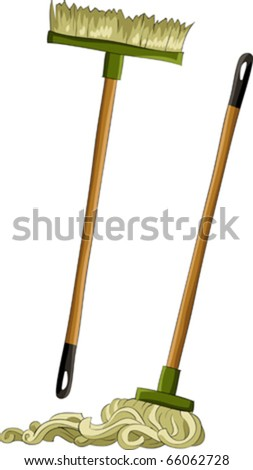 Mop and broom on a white background, vector - stock vector