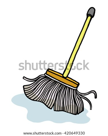 mop / cartoon vector and illustration, hand drawn style, isolated on white background. - stock vector