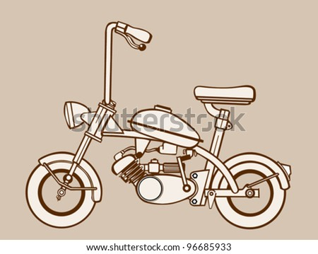 moped silhouette on brown  background, vector illustration - stock vector